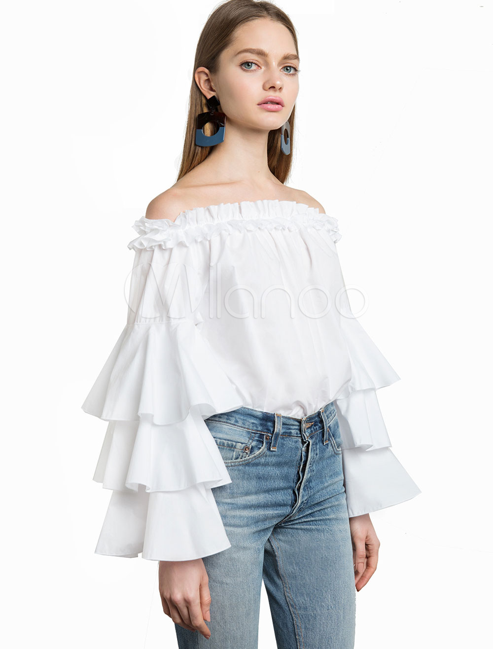 Buy White Bardot Top Off The Shoulder Blouses Tiered Bell Sleeve Ruffles Women's Summer Tops for $18.99 in Milanoo store