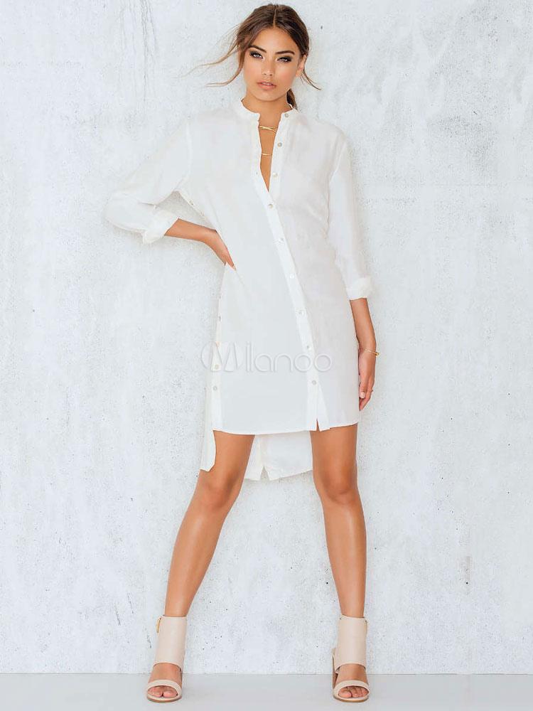 0fd6d7b37 Vestido de camisa branca Twisted Grommet Crewneck Manga comprida Backless  High Low Vestido casual casual de ...