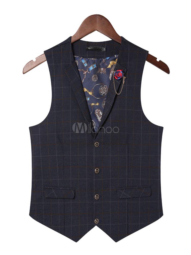 Dark Navy Vest Jacket Men's V Neck Sleeveless Plaid Cotton Waistcoat