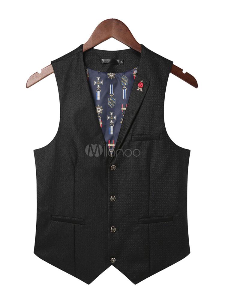 Black Vest Suit Men's V Neck Sleeveless Slim Fit Casual Waistcoat