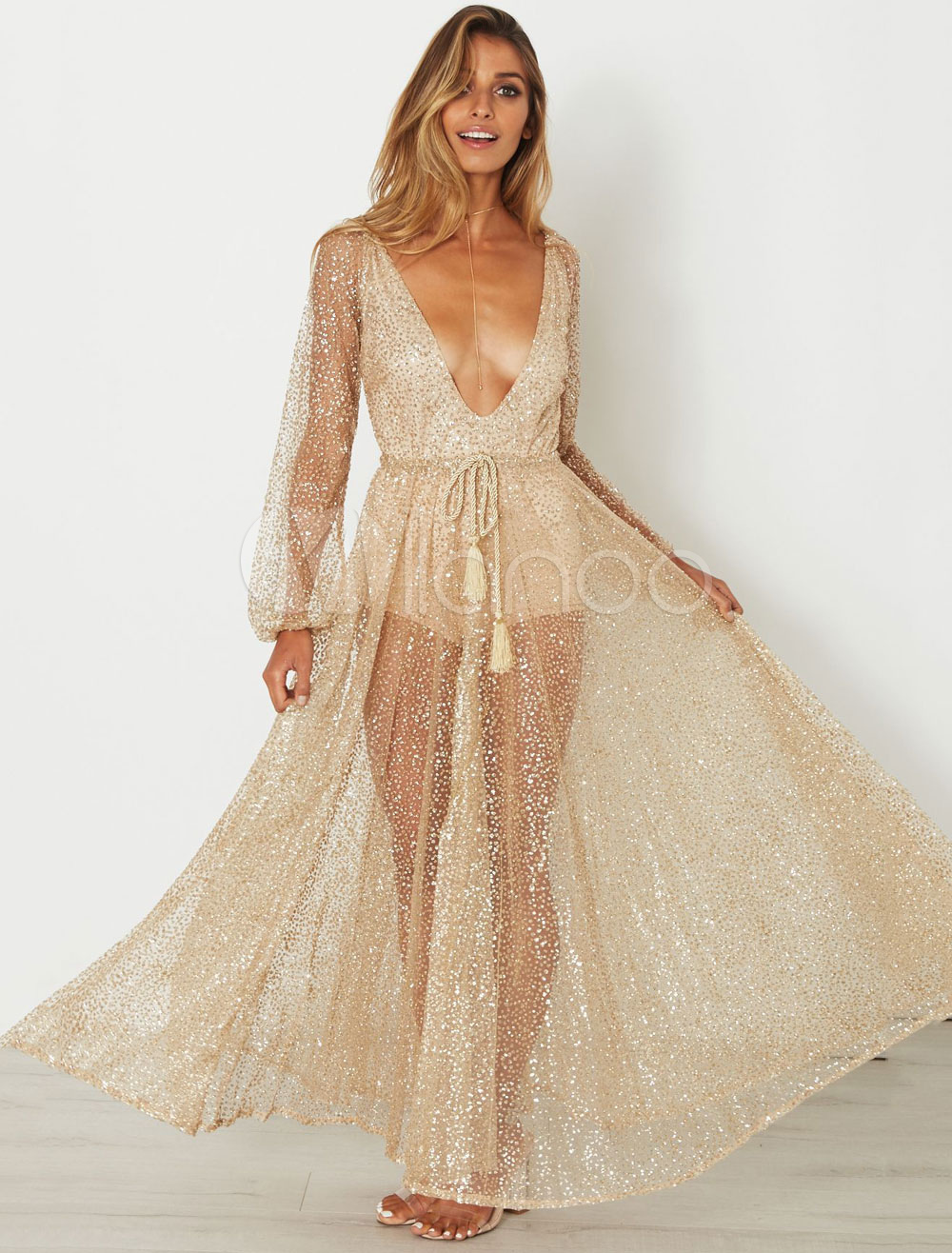 72ca3ea1e53fd Sequin Maxi Dress Gold Long Sleeve Semi Sheer Women's Plunging Sexy Summer  Long Dress