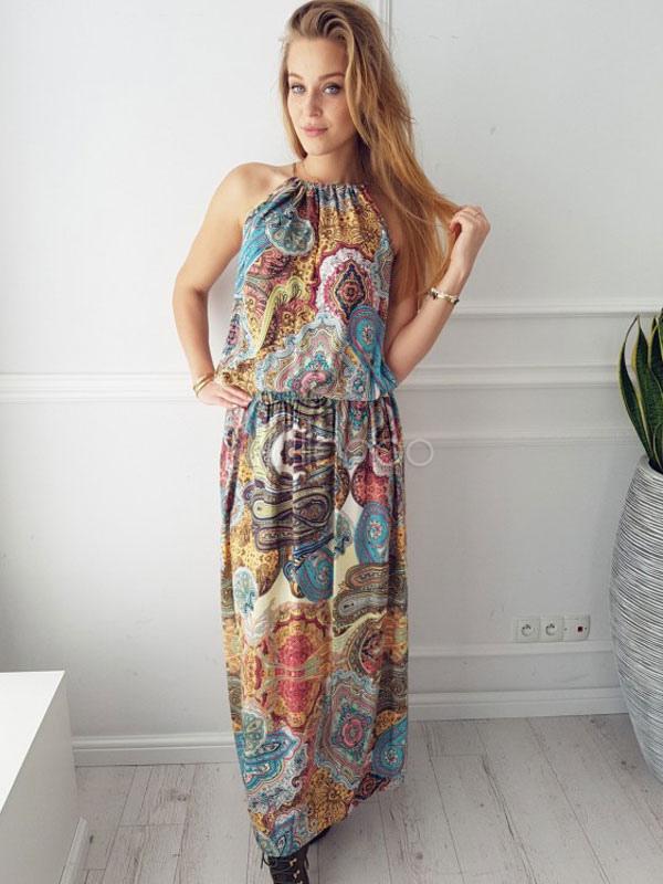 Buy Women's Maxi Dress Boho Sleeveless Printed Long Dress for $20.99 in Milanoo store