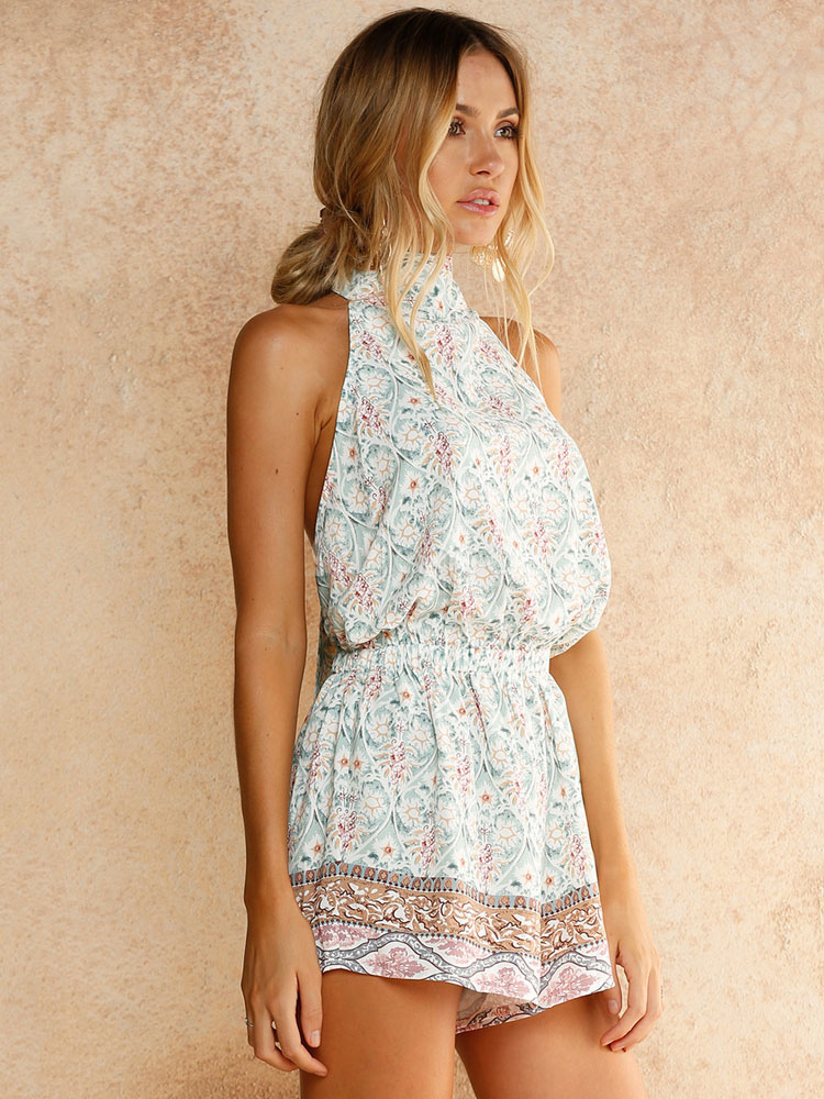 Buy Women's Romper Shorts Floral Print Halter Tie Backless Sleevelss Wide Leg Summer Rompers for $23.74 in Milanoo store