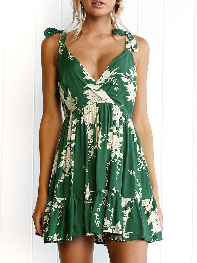 Green Short Dress Boho Strappy V Neck Sleeveless Lace Up Printed Summer Dress