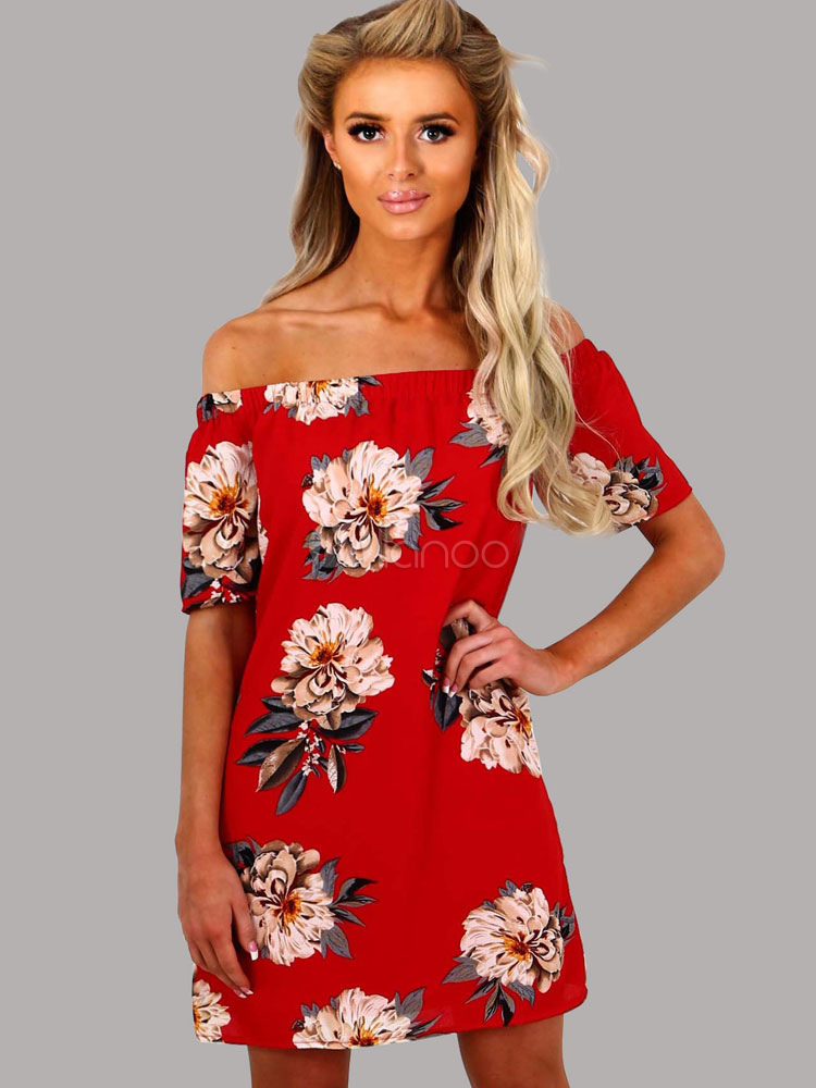 41cd2384eb45 Red Short Dress Off The Shoulder Short Sleeve Floral Printed Shift Dress  For Women-No ...