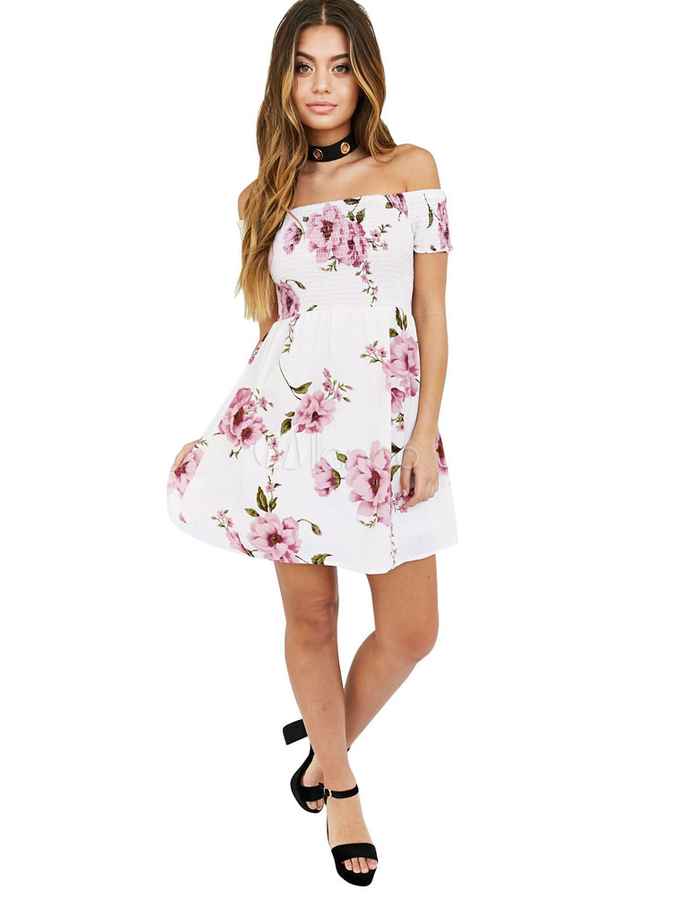 Buy White Skater Dress Floral Printed Off The Shoulder Short Sleeve Slim Fit Flare Dress for $23.39 in Milanoo store