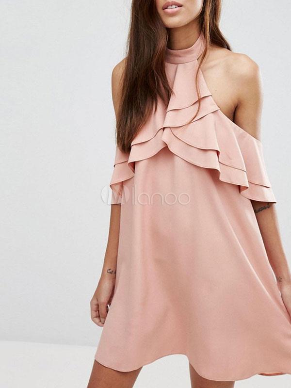 Buy Pink Shift Dress Chiffon Halter Layered Ruffles Half Sleeve Backless Short Dress for $23.74 in Milanoo store