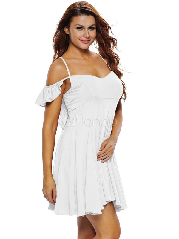 eaf1041a3f White Skater Dress Strappy Short Sleeve Cold Shoulder Pleated Flare Dress  For Women-No.