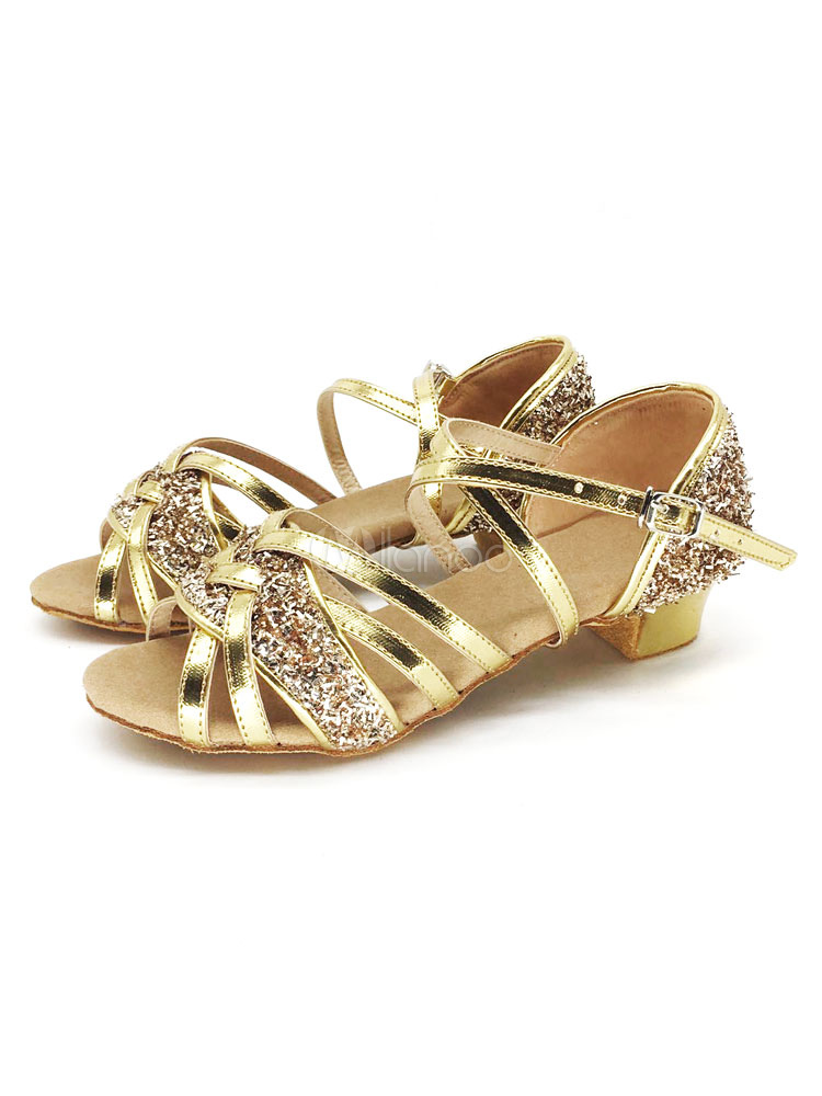 Buy Latin Dance Shoes Sequins Glitter Strappy Criss Cross Puppy Heel Ballroom Shoes for $14.24 in Milanoo store