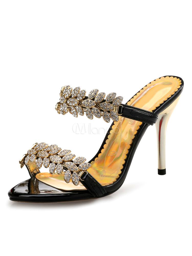 Chancleta con pedrería Suela de goma antideslizante de tacón de stiletto estilo modernopara mujer de puntera abierta sin contrafuertes Ae1RHt