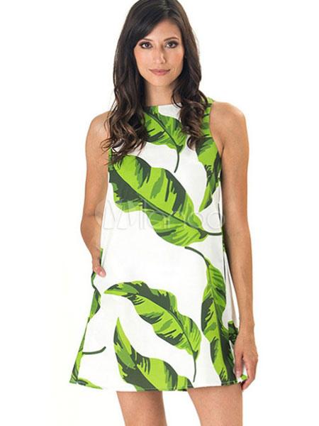 Buy Women's Short Dress Round Neck Sleeveless Leaf Printed Shift Dress for $18.99 in Milanoo store