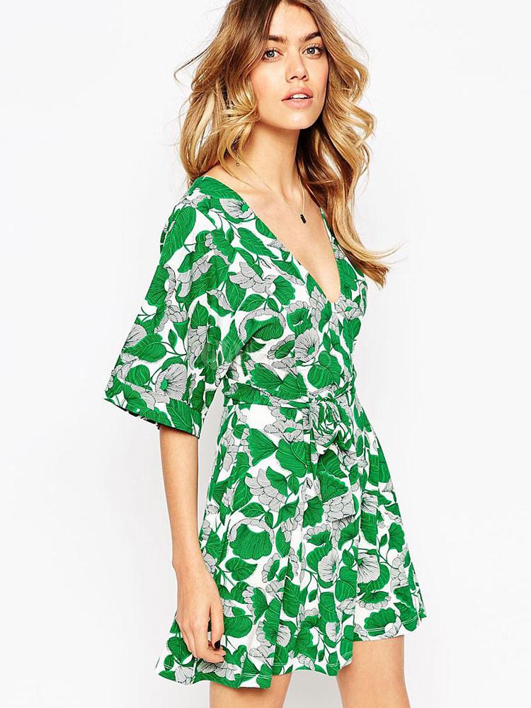 Buy Green Skater Dress V Neck Half Sleeve Leaf Printed Lace Up Short Dress for $21.59 in Milanoo store