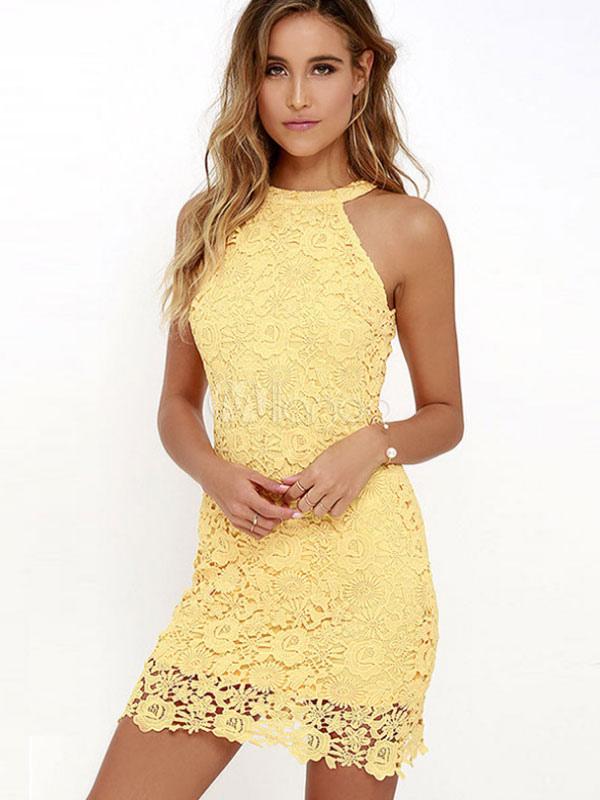 2c99471c90e3 Lace Bodycon Dress Yellow Women s Sexy Mini Dress - Milanoo.com