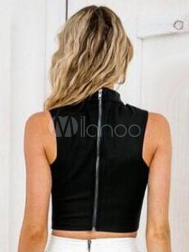 81d4bf24913a7 Black Crop Top Women s Short V Neck Summer Choker Tank Top - Milanoo.com