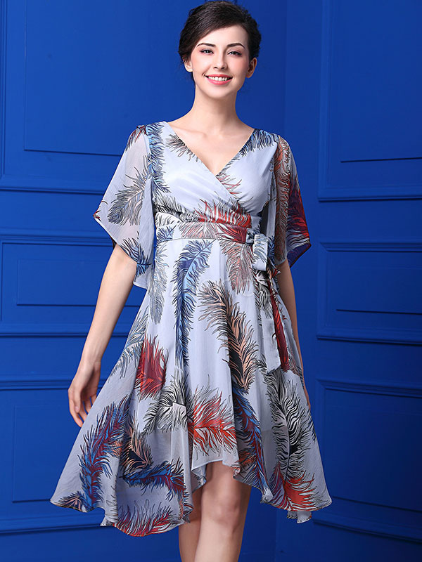 Buy Chiffon Skater Dress Light Blue V Neck Half Sleeve Printed Flare Dress For Women for $47.49 in Milanoo store