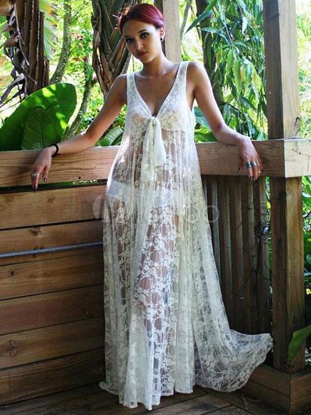 huge selection of 30656 c295b Vestito lungo bianco di pizzo con scollatura profonda smanicato con  annodature con pizzo trasparente donna
