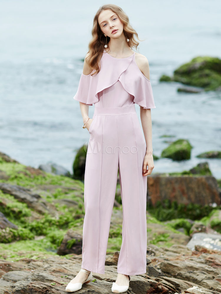 Women's Pink Jumpsuit Cold Shoulder Round Neck Half Sleeve Frill Straight Leg Long Playsuit With Sash