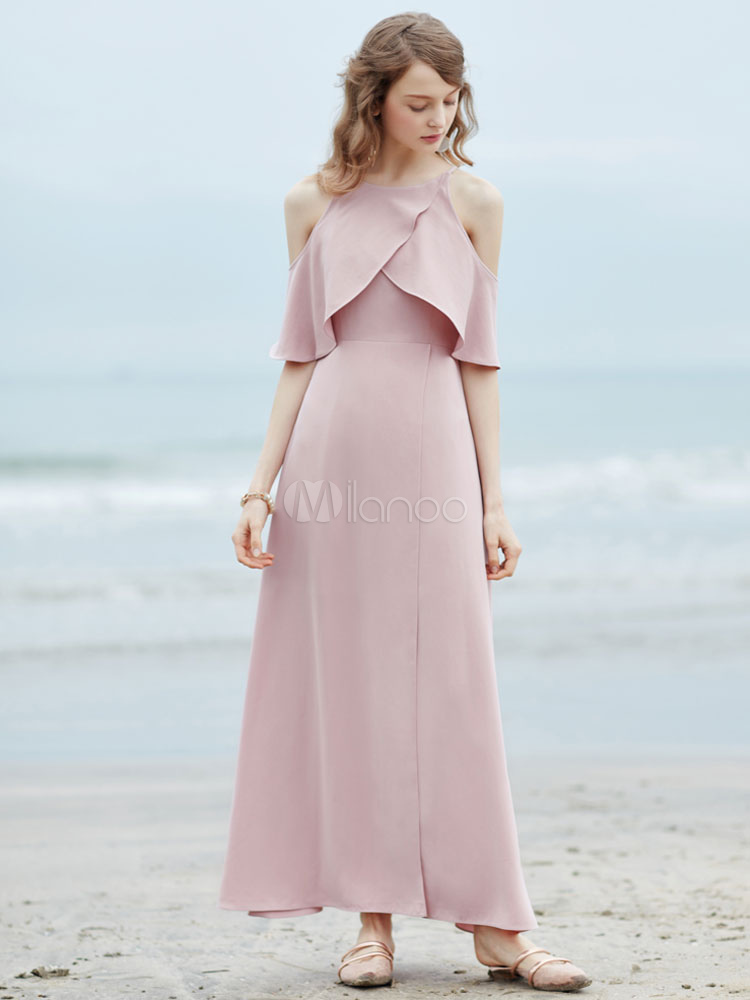 Buy Pink Maxi Dress Round Neck Half Sleeve Cold Shoulder Long Dress For Women for $49.11 in Milanoo store
