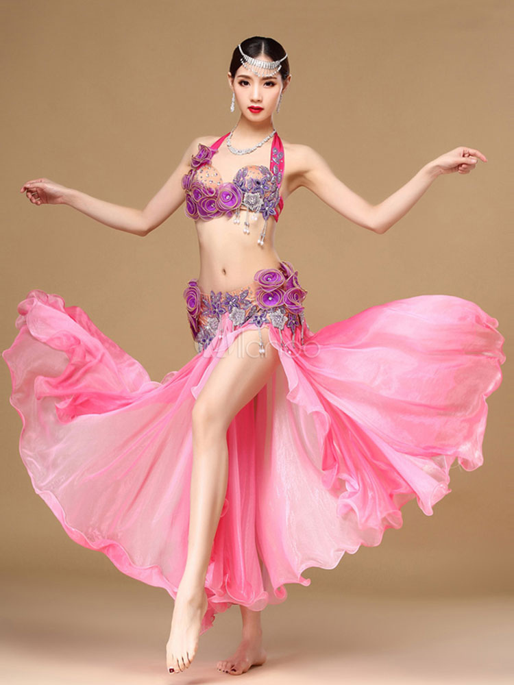 Belly Dance Costume Sexy High Split Pink Belly Dancing Long Skirts And Tops