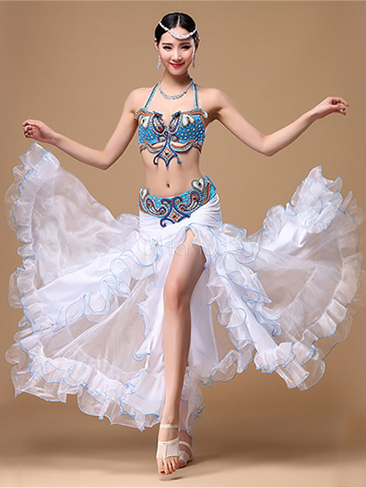 Buy Belly Dance Costume Two Piece Crop Top Ocean Blue Beading Bollywood Dance Skirt Set for $186.99 in Milanoo store