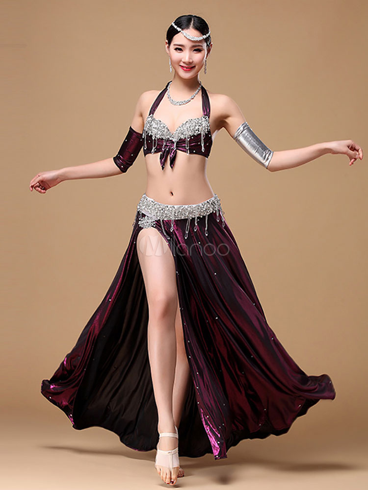 Belly Dance Costume Royal Blue Sexy High Split Belly Dancing Long Skirts And Halter Top