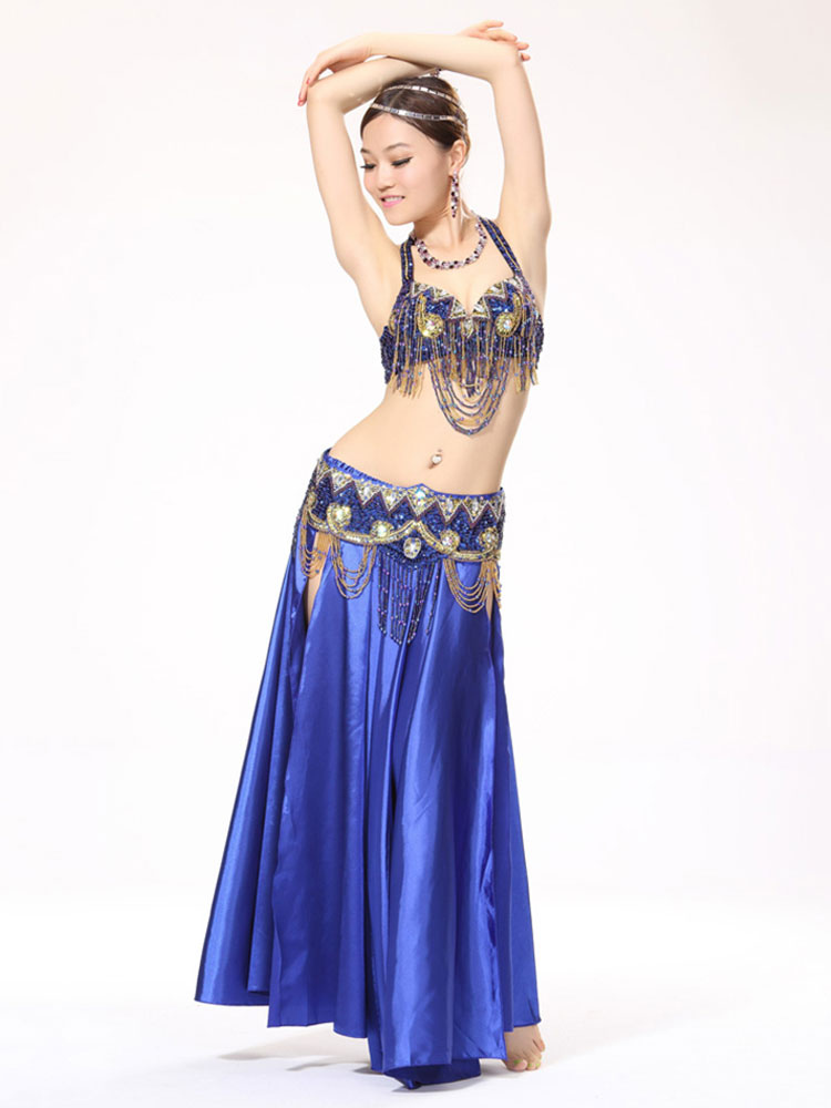 Belly Dance Costumes Royal Blue Satin Bollywood Dance Costume In 3 Piece Set