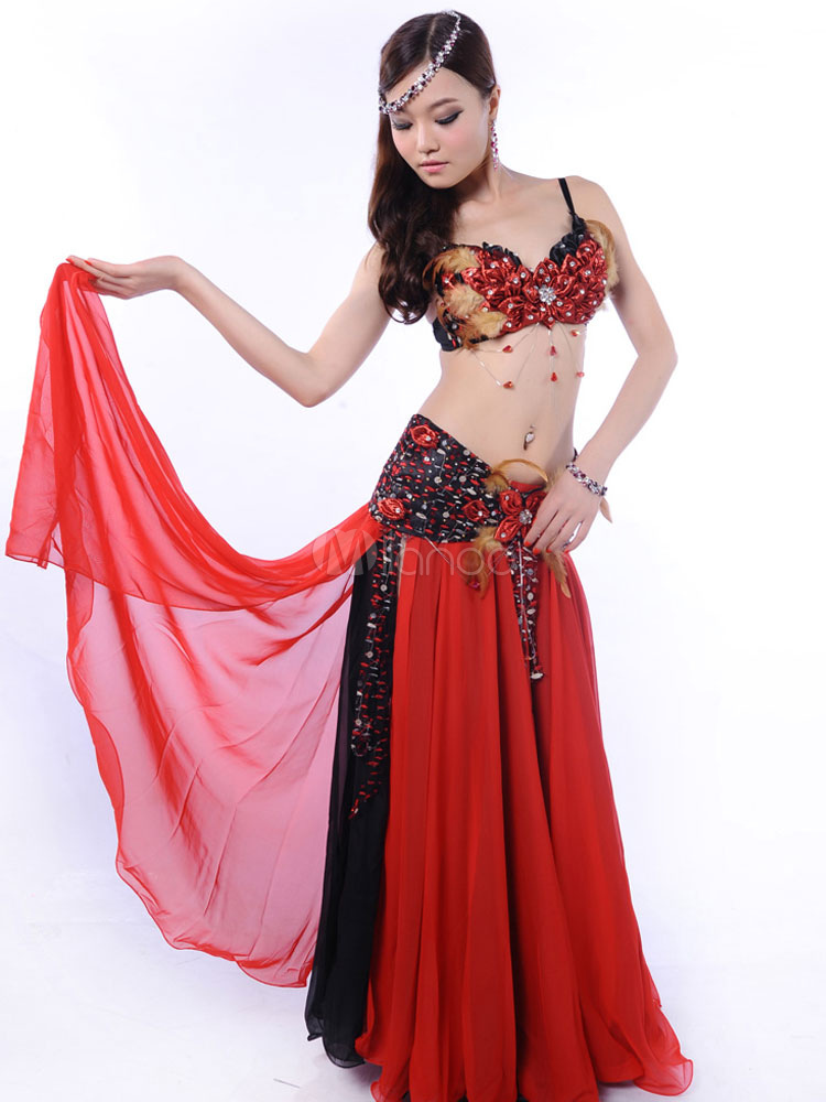 Belly Dance Costumes Chiffon Red Bollywood Dance Costume In 3 Piece Set