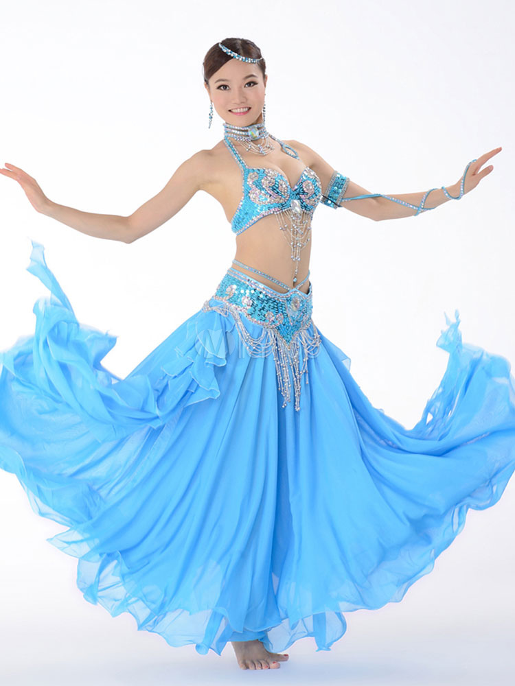 Belly Dance Costume Chiffon Ocean Blue Belly Dancing Long Skirts And Tops