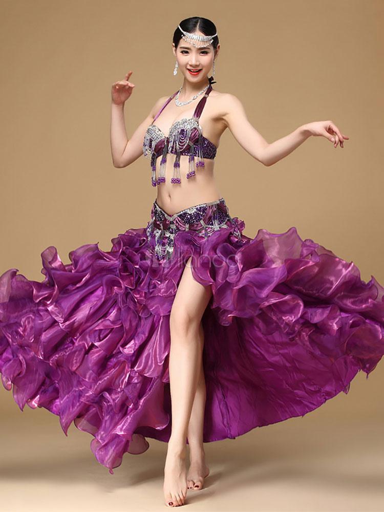 Purple Belly Dance Costume Luxuriously Beading Fringes Bra Top With High Slit Ruffles Skirt And Cummerbund