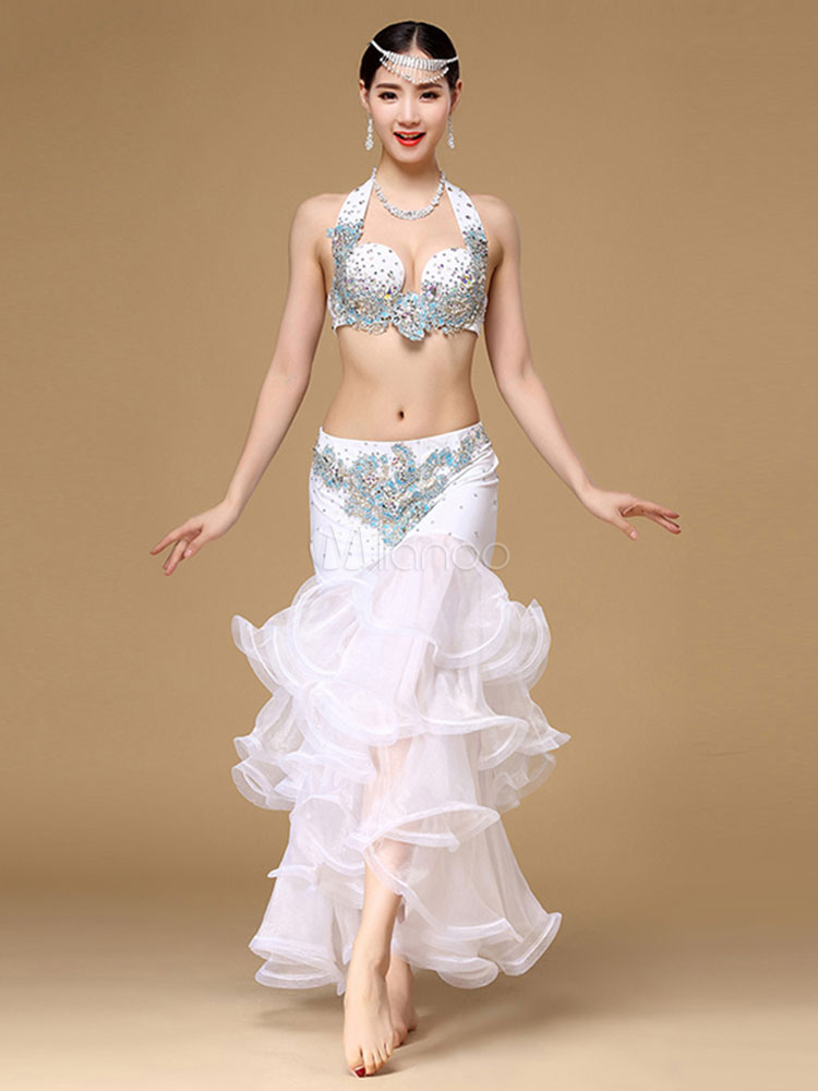 Belly Dance Costumes White Halter Sleeveless Rhinestones Bra With Skirt