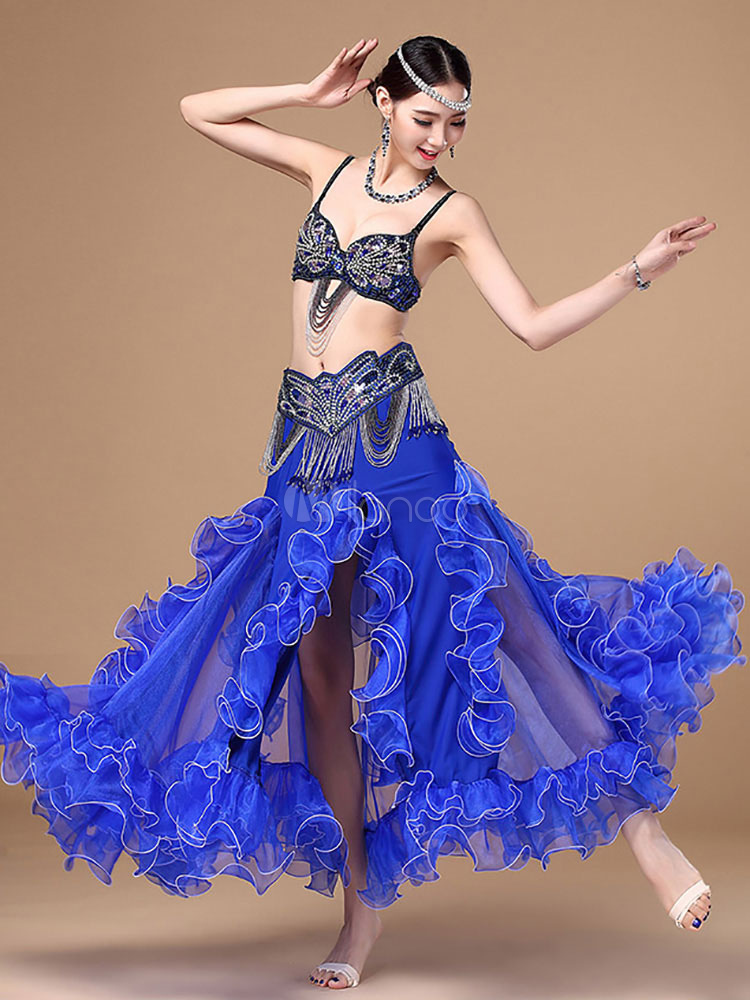 Buy Belly Dance Costume High Slit Ruffles Flare Long Skirt With Sexy Bra Top And Cummerbund for $173.99 in Milanoo store