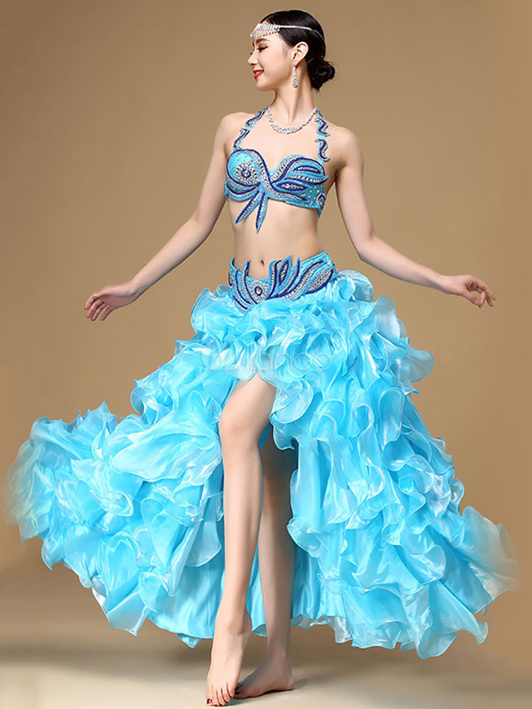 Buy Belly Dance Costume Halter High Split Ocean Blue Women's Organza Belly Dancing Top And Skirts for $231.99 in Milanoo store