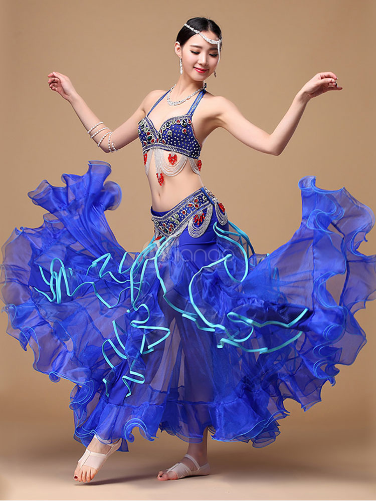Buy Belly Dance Costume Blue Halter Women's Belly Dancing Crop Top And Skirts for $239.99 in Milanoo store