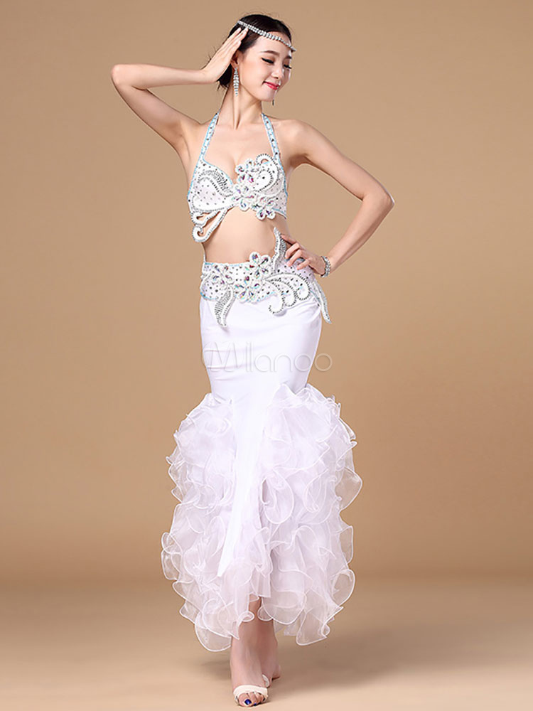 Buy Belly Dance Costume White Mermaid Halter Women's Organza Belly Dancing Top And Skirt for $184.99 in Milanoo store