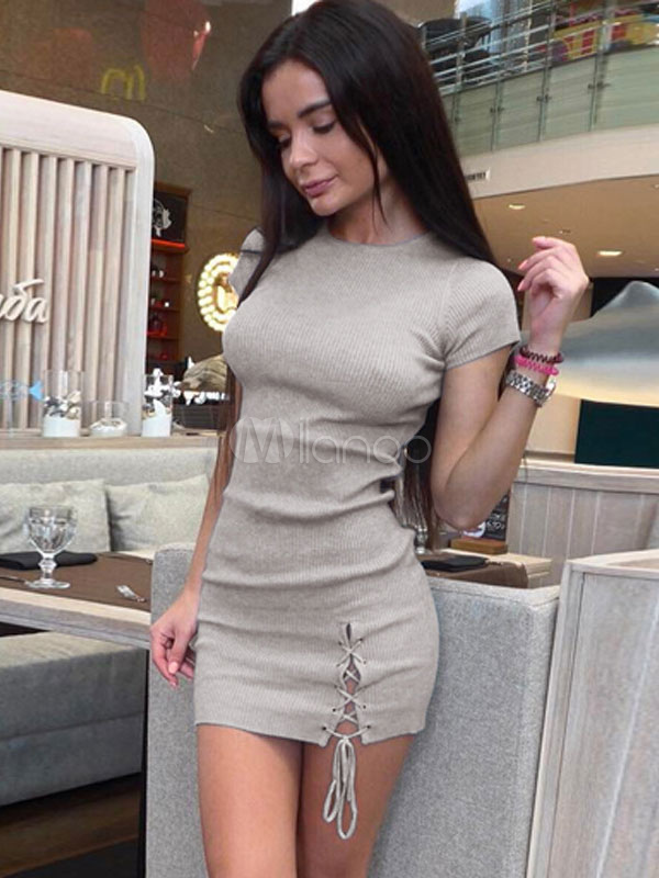 Knitted Bodycon Dress Round Neck Short Sleeve Lace Up Light Grey Shaping Mini Dress