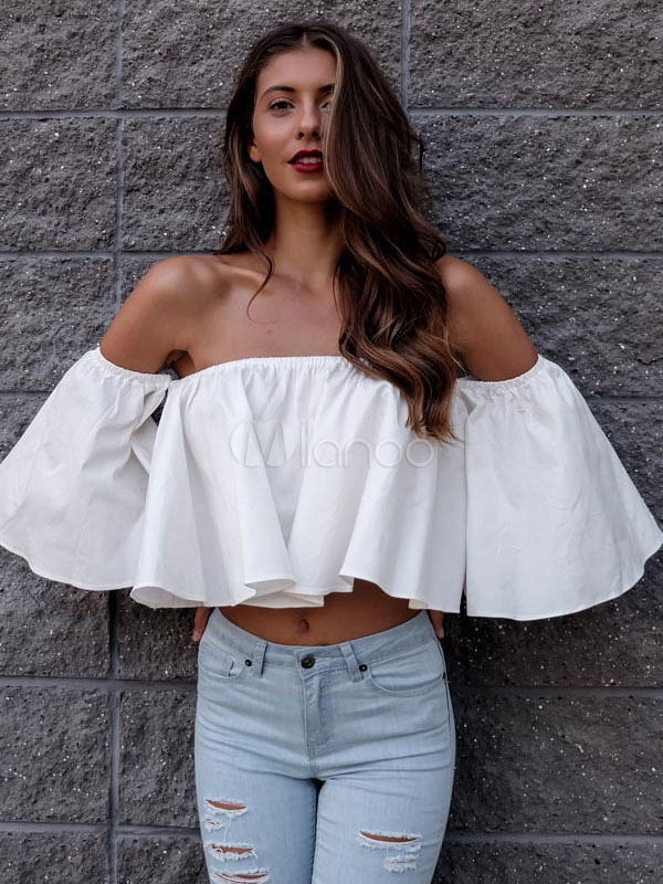Buy Women's White Blouse Off The Shoulder Half Flare Sleeve Pleated Ruffles Casual Top for $18.99 in Milanoo store