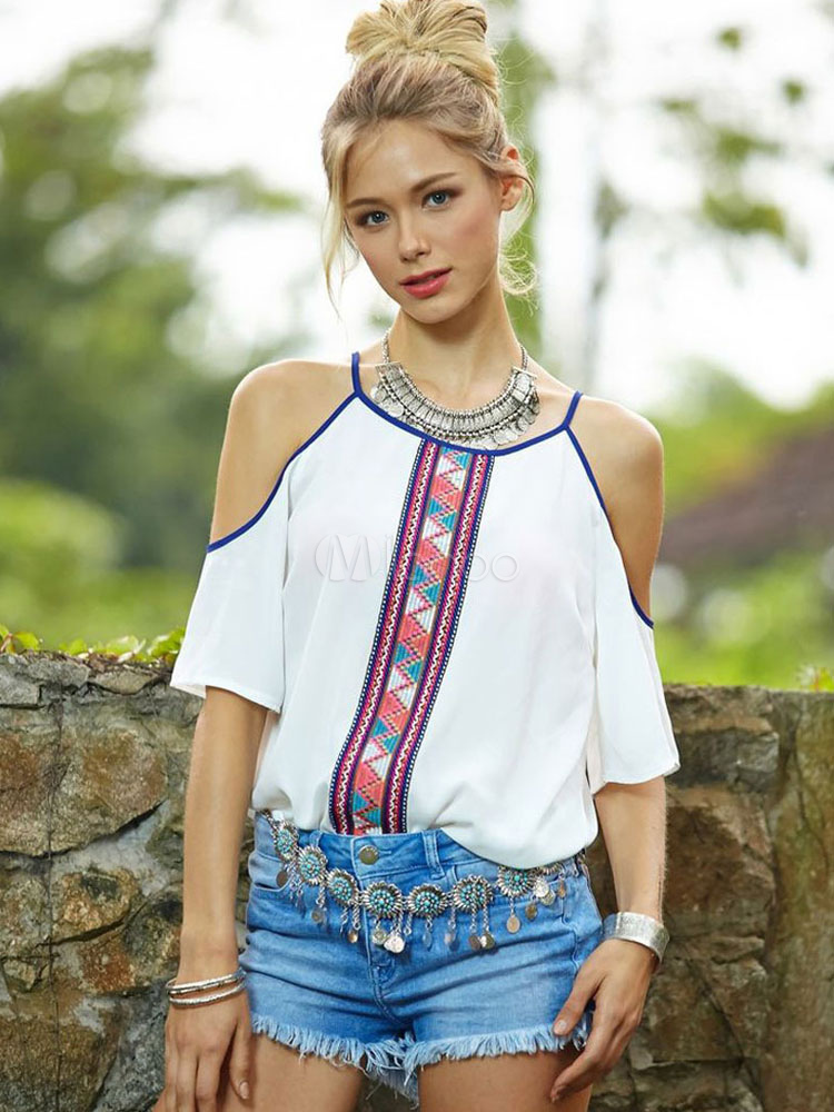Buy Chiffon White Blouse Ethnic Print Cold Shoulder Half Sleeve Women's Casual Top for $15.29 in Milanoo store