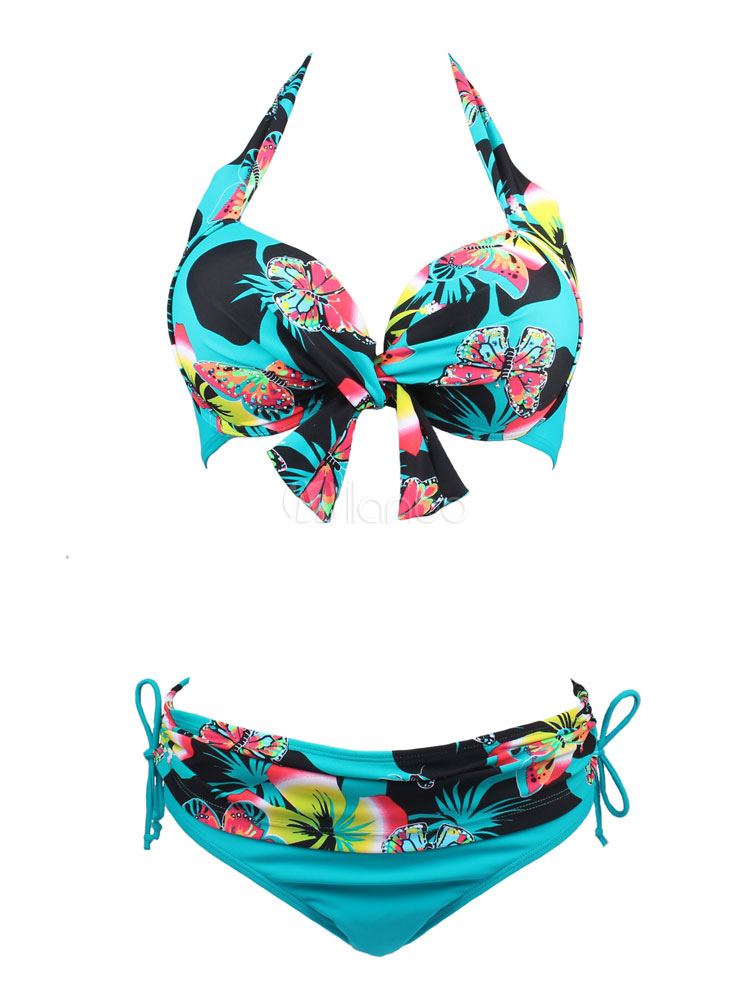 Buy Halter Bikini Set Floral Print Beach Swimsuit Women's 2 Piece Bathing Suits for $23.74 in Milanoo store