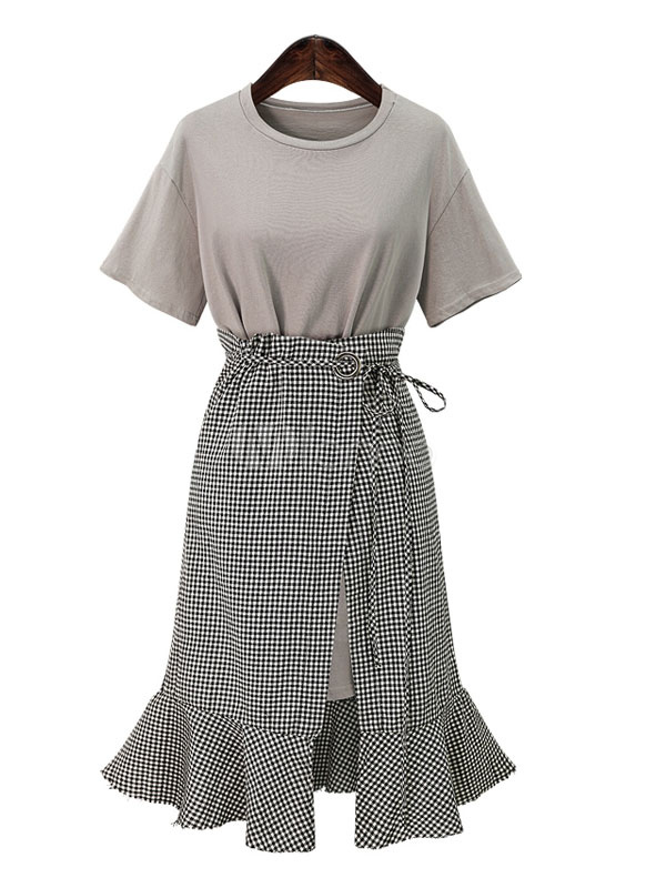 Buy 2 Piece Outfits Grey Round Neck Short Sleeve T Shirt Dress With Lace Up Plaid Skirt for $33.24 in Milanoo store
