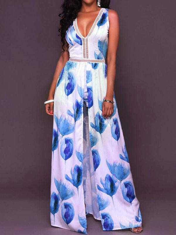 Buy Blue Maxi Dress Floral Print V Neck Sleeveless Backless High Slit Long Dress for $28.49 in Milanoo store