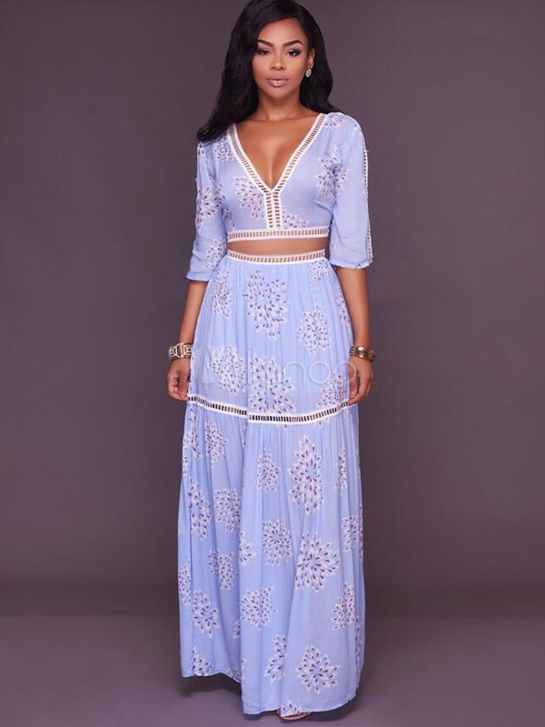 Buy Chiffon Skirt Set Floral Print V Neck Half Sleeve Tie Back Crop Top With Pleated Maxi Skirt for $28.49 in Milanoo store