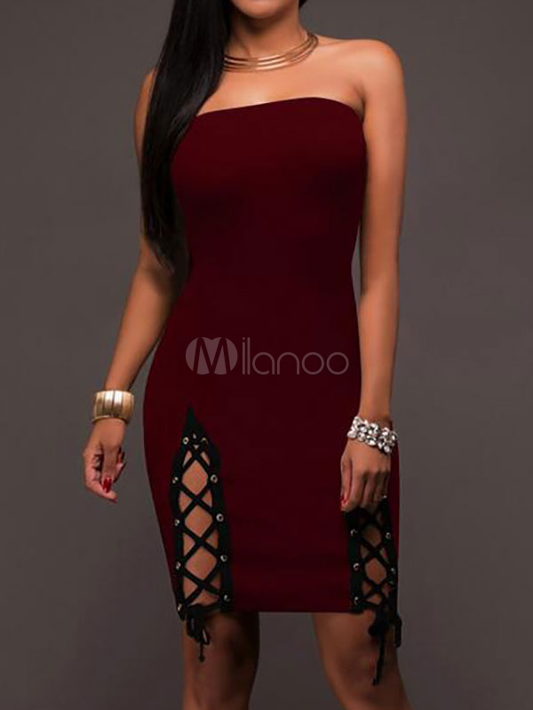Buy Burgundy Bodycon Dress Strapless Grommet Lace Up Slit Women's Sexy Wrap Dress for $18.99 in Milanoo store