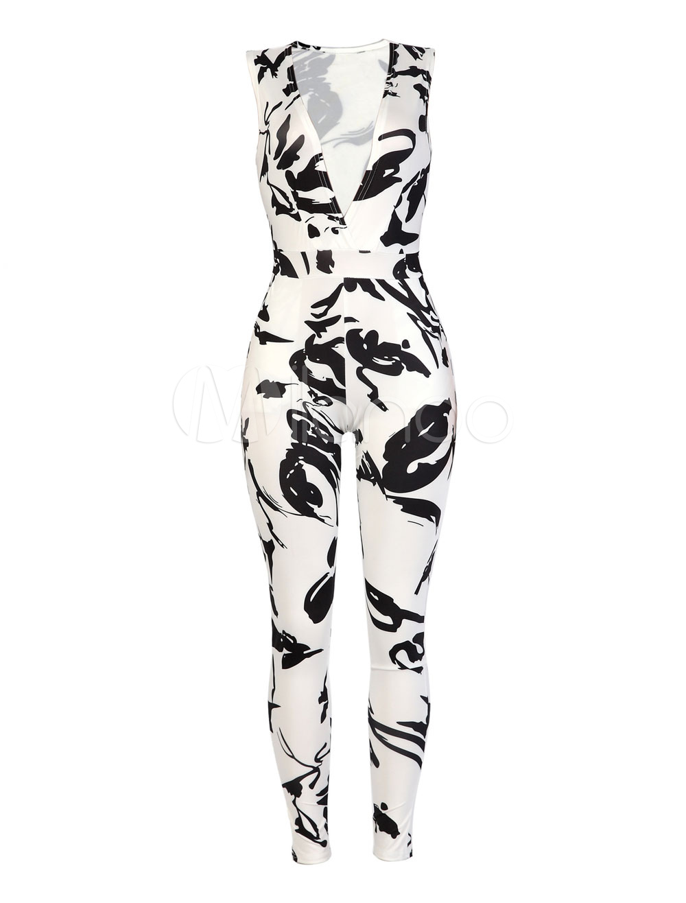 Buy Women's Black Jumpsuit V Neck Sleeveless Printed Skinny Leg Long Jumpsuit for $28.49 in Milanoo store