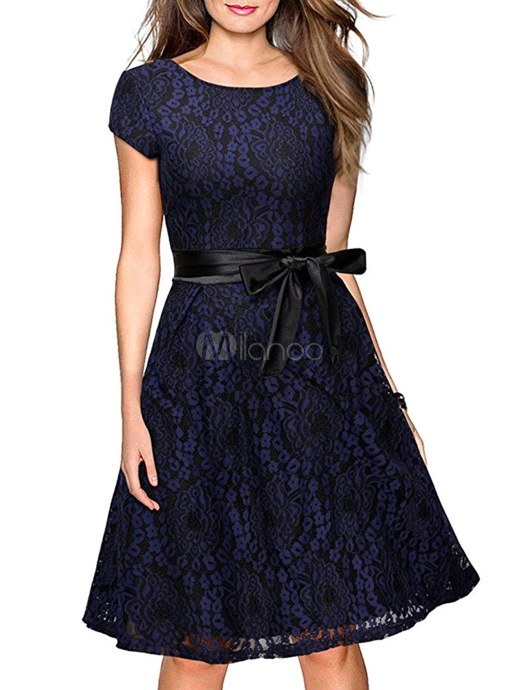 Buy Burgundy Lace Dress Round Neck Short Sleeve Lace Up Pleated Skater Dress for $26.99 in Milanoo store