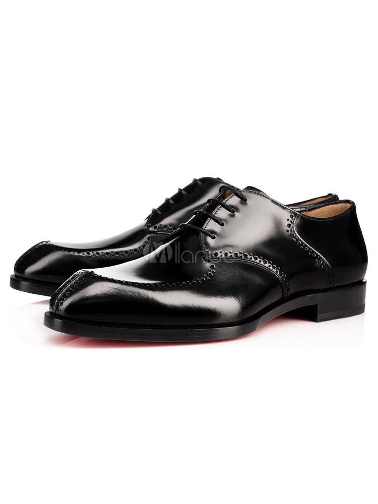 Black Dress Shoes Cowhide Men's Round Toe Lace Up Casual Business Shoes