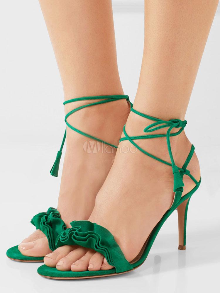 8ea4d6ec010 Sandalias de puntera abierta de tacón de stiletto para fiesta estilo  moderno Sandalias para mujer ...