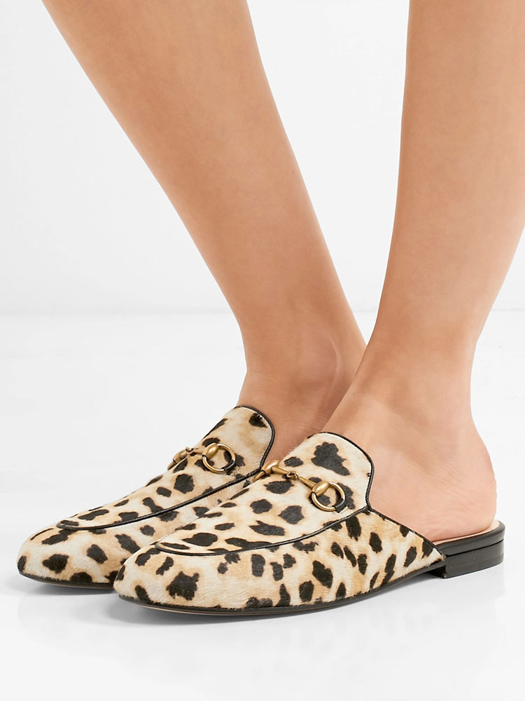 100% top quality usa cheap sale really cheap Women's Mule Loafers Leather Leopard Round Toe Slip On Backless ...