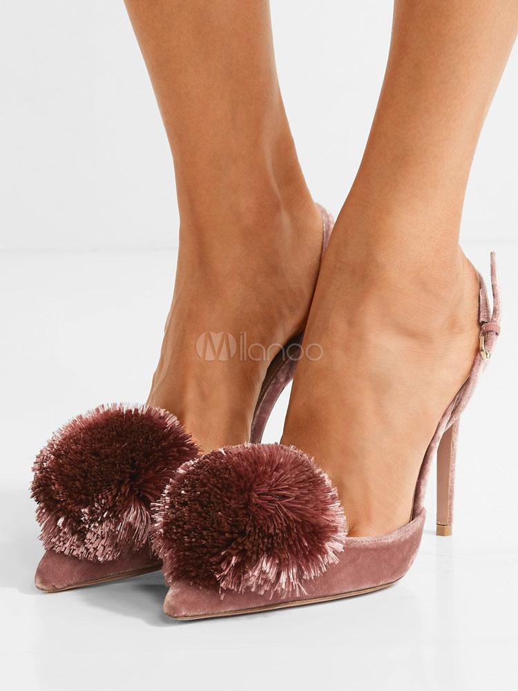 Zapatos de tacón de puntera puntiaguada de terciopelo Cameo Pink Color liso con pompón de tacón de stiletto GYUs8ZO