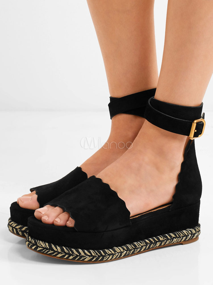 23eea036e0120 Black Flat Sandals Suede Open Toe Ankle Strap Sandal Shoes For Women-No.1  ...