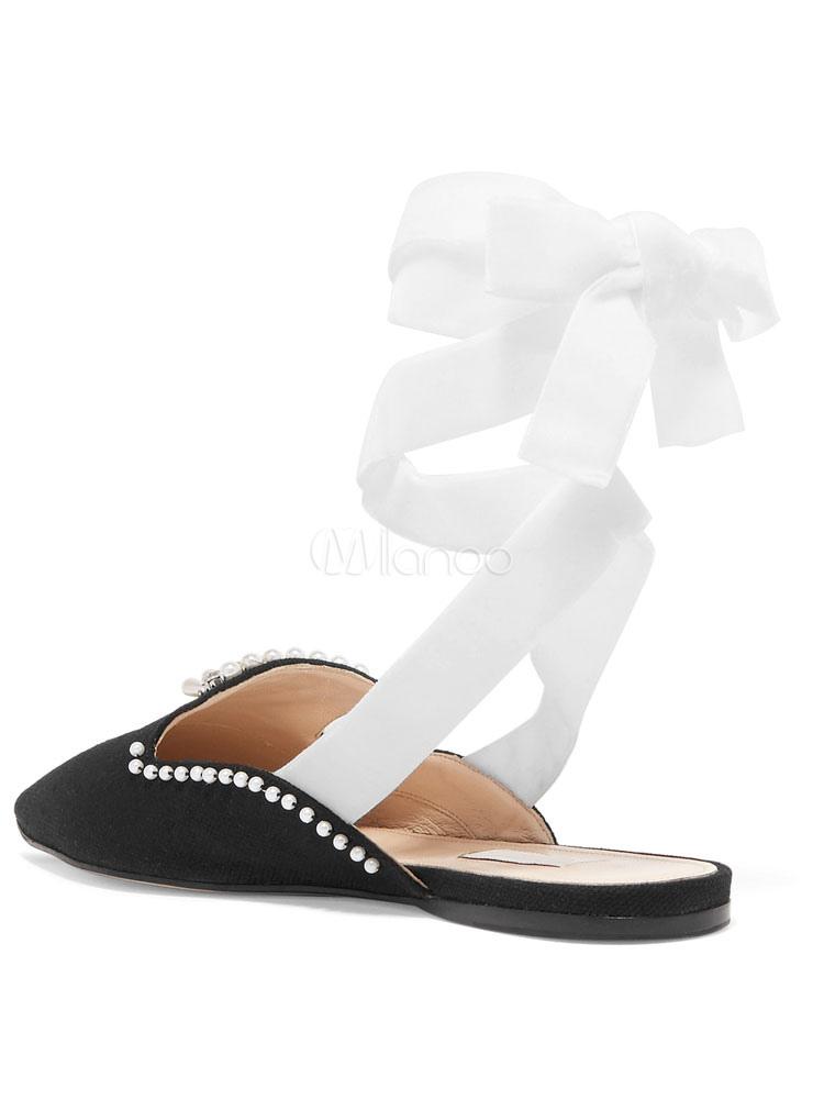 Zapatos planos Planos con cinta en la tobillera de puntera puntiaguada para mujer estilo moderno de color-blocking estilo street wear E845CQz